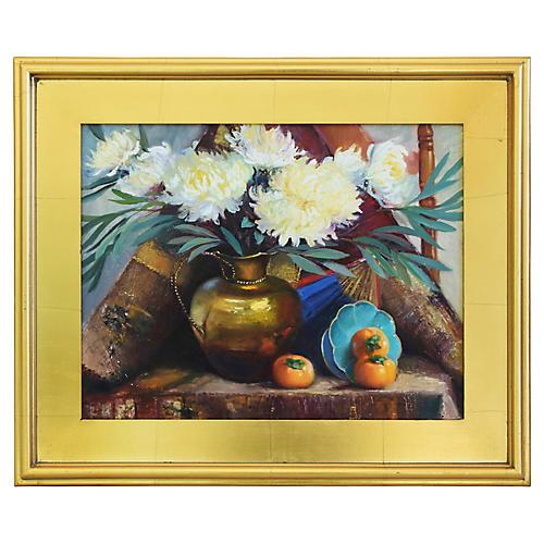 A. Evans, Floral Tablescape Oil Painting