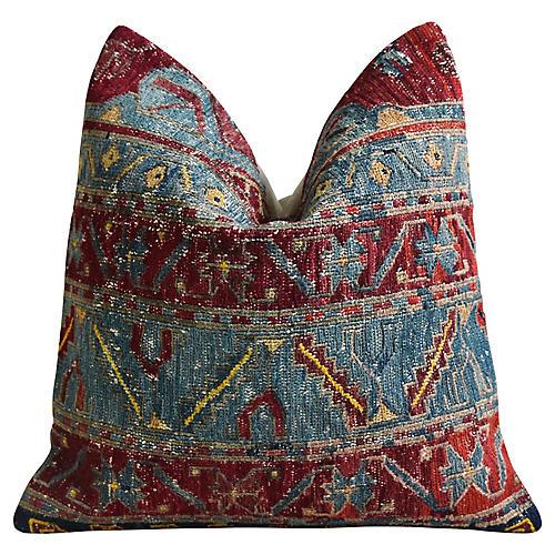Antique Soumak Carpet Rug Wool Pillow