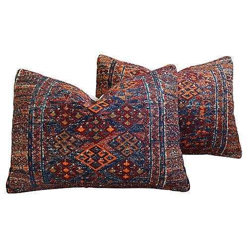 Antique Soumak Carpet Wool Pillows, Pr