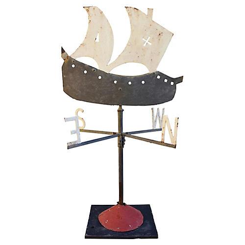 Iron Galleon Ship Weathervane w/ Stand