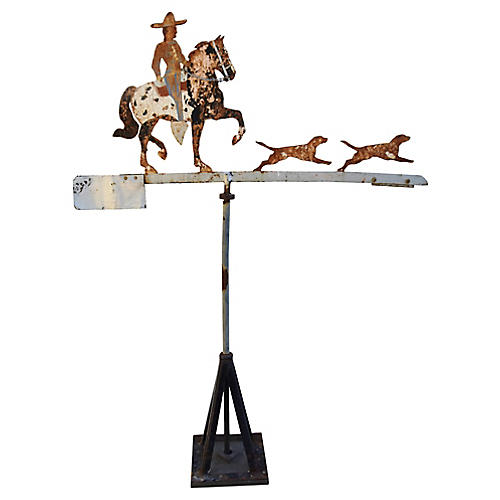 Iron Cowboy, Horse & Dogs Weathervane