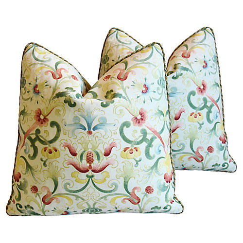 Zoffany Floral & Mohair Pillows, Pair