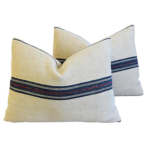 Blue/Red Striped Grain Sack Pillows, Pr