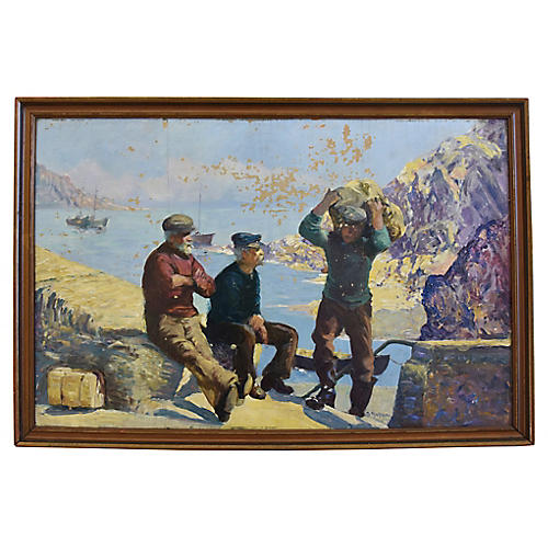 Early 1900s Nautical Fisherman Painting