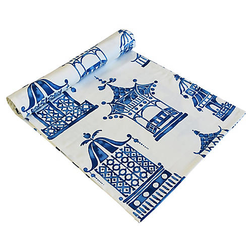 Chinoiserie Blue & White Table Runner