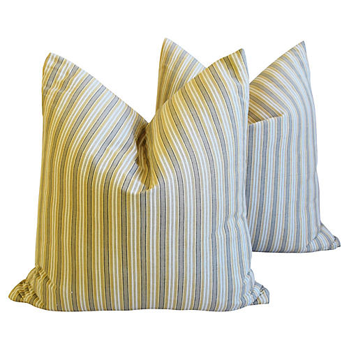 New England Nautical Striped Pillows, Pr