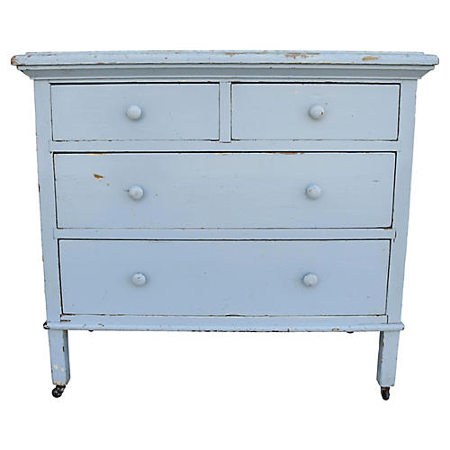 Sky-Blue Painted Farmhouse Dresser