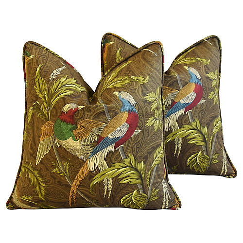 Chinoiserie Exotic Birds Pillows, Pair
