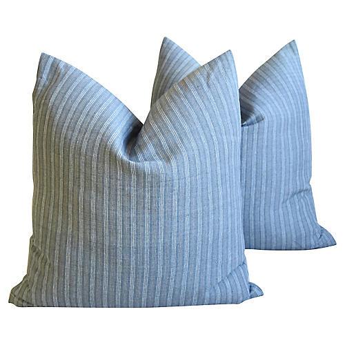 Gray Stripe French Ticking Pillows, Pair