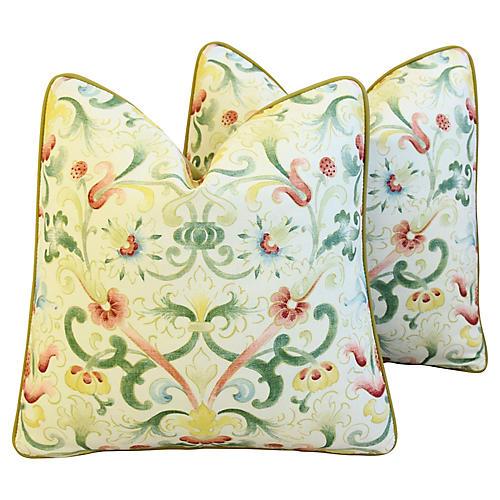 Zoffany Floral & Wool Velvet Pillows, Pr