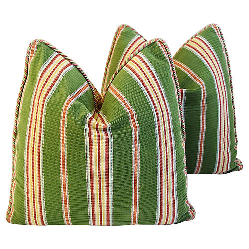Schumacher Velvet Striped Pillows, Pair