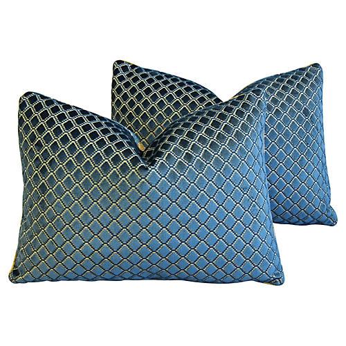 Lee Jofa Blue Diamond Velvet Pillows, Pr