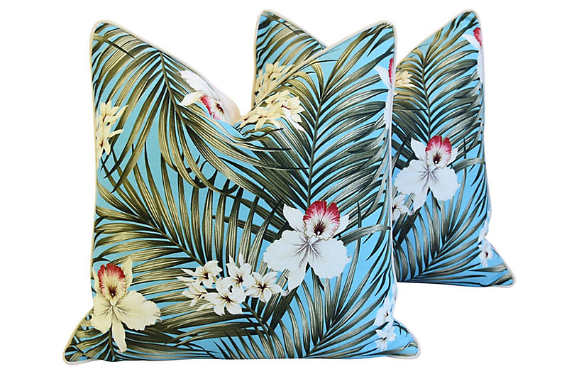 Teal Tropical Orchid & Palm Pillows, Pr