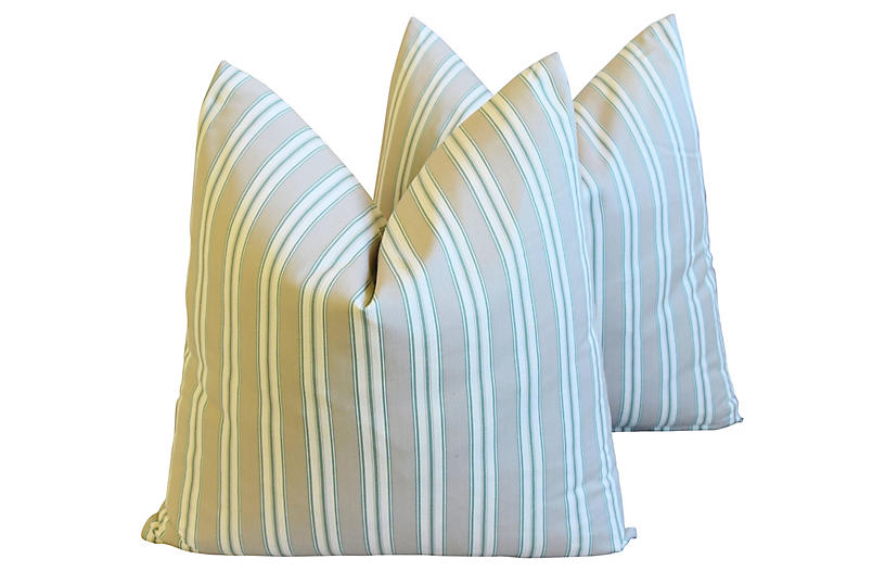 French Striped Ticking Pillows, Pair