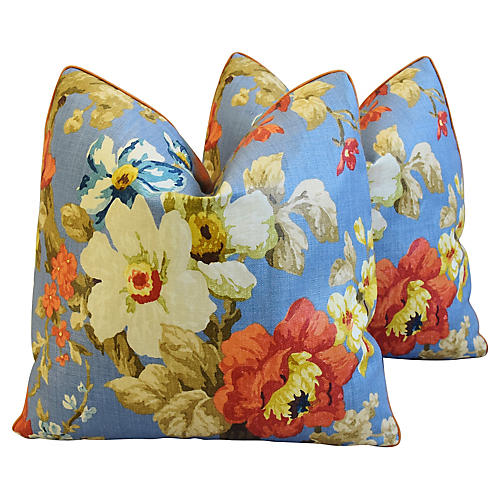 Lee Jofa Jardin Floral Pillows, Pair
