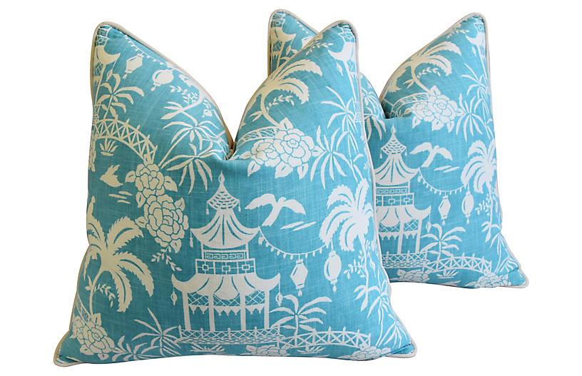 Aqua & White Chinoiserie Pillows, Pair