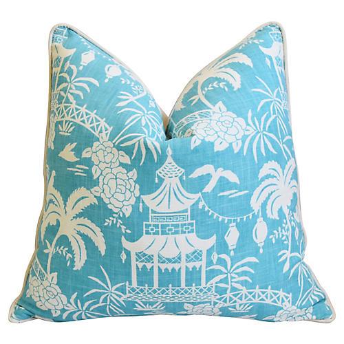 Aqua & White Chinoiserie Pagoda Pillow