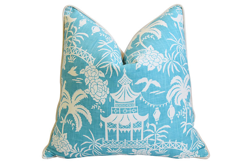 Aqua & White Chinoiserie Pagoda Pillow