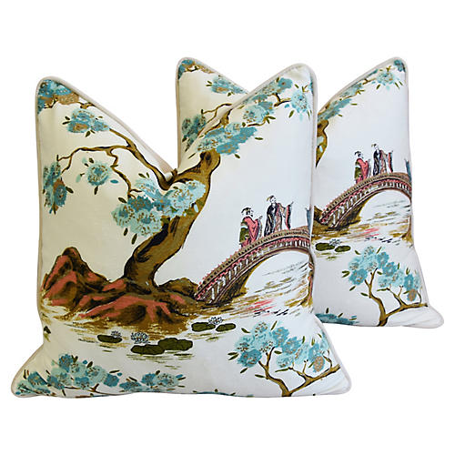 Chinoiserie Silk Floral Pillows, Pair