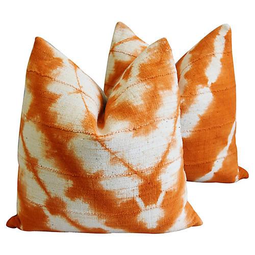 Tangerine & White Mud Cloth Pillows, Pr