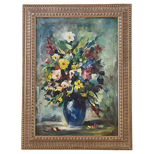 Midcentury Floral Tablescape Painting