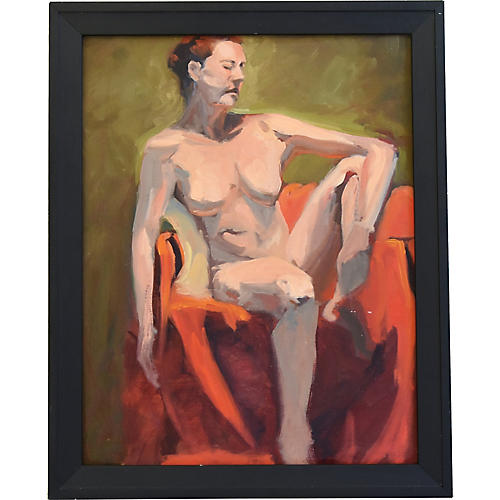 Vintage Female Nude Study Oil Painting