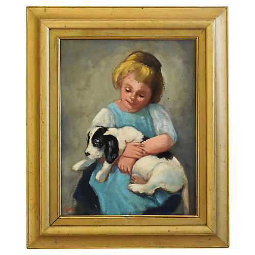 Young Girl w/ Puppy Oil Painting