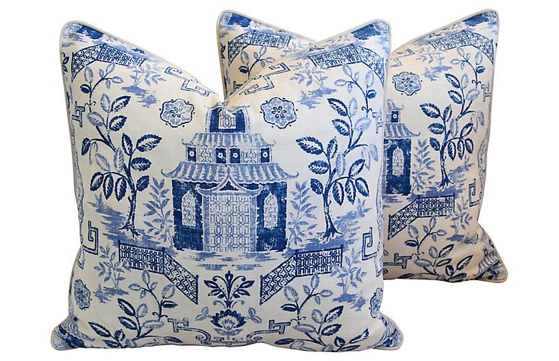 Blue & White Chinoiserie Pillows, Pair