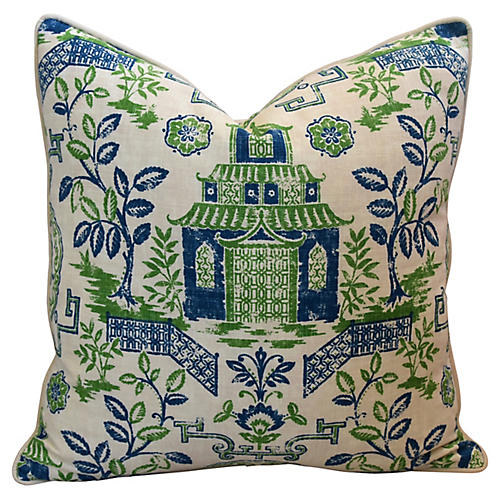 Chinoiserie Pagoda Linen Pillow