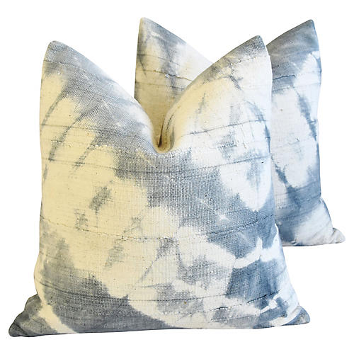 Blue-Gray/Cream Mali Tribal Pillows, Pr