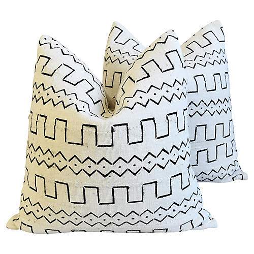 Neutral & Black Mali Tribal Pillows, Pr
