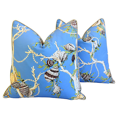 Blue Nautical Coral & Shells Pillows, Pr