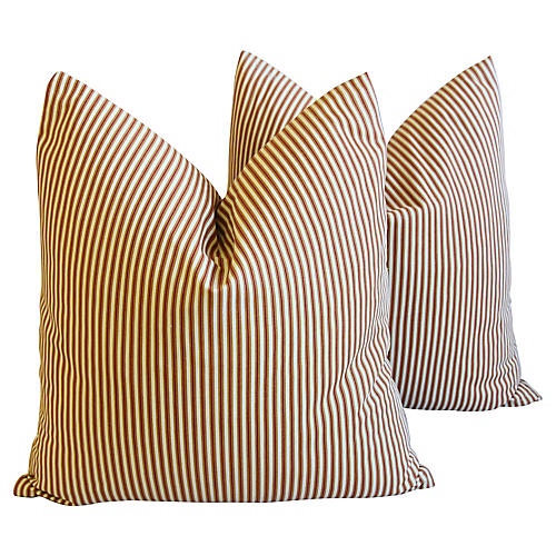 French Tan/Red/Cream Striped Pillows, Pr