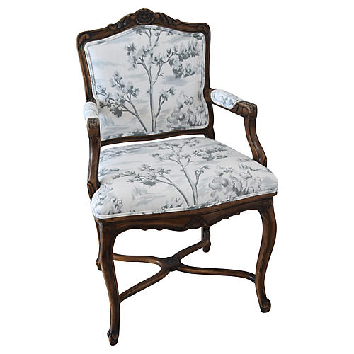Carved Mahogany Armchair w/ Toile Fabric