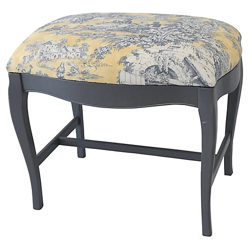 Vintage French-Style Country Toile Bench