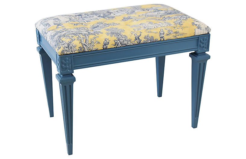 Yellow, White & Blue-Gray Toile Bench