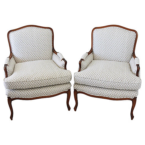 Vintage Upholstered Bergere Chairs, Pair