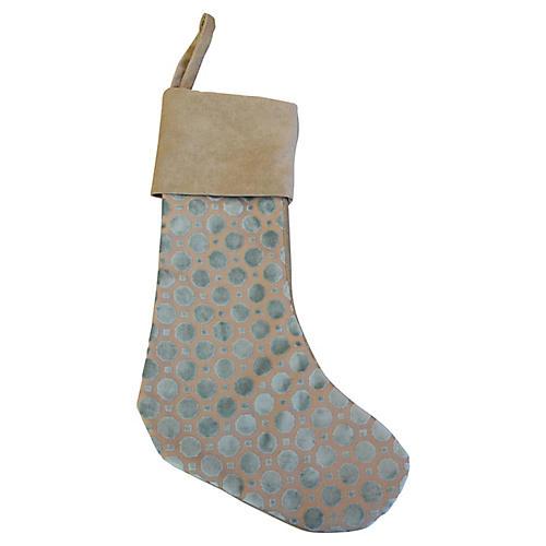 Aqua Velvet Dot Christmas Stocking