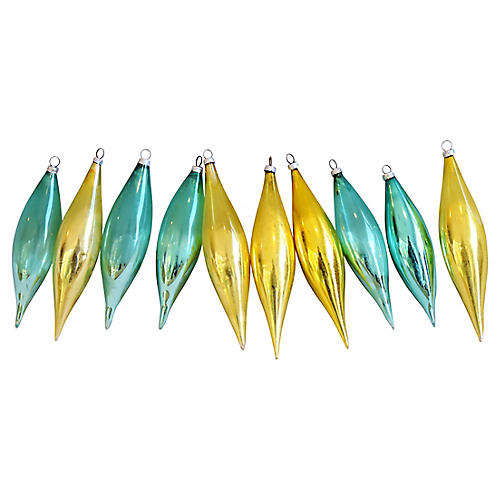 Christmas Icicle Ornaments w/Boxes, S/10