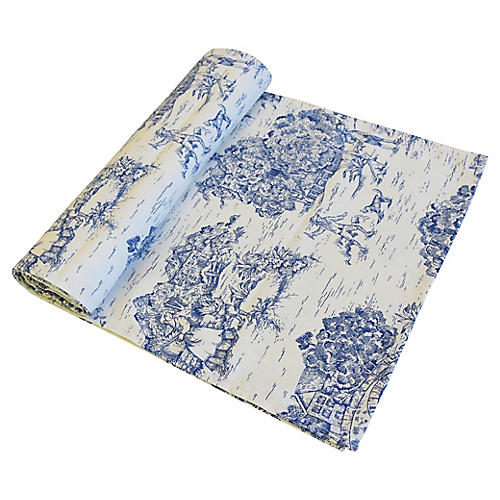 Blue & Cream Country Toile Table Runner