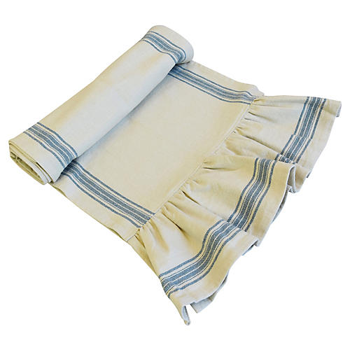 Farmhouse Cream/Aqua Stripe Table Runner