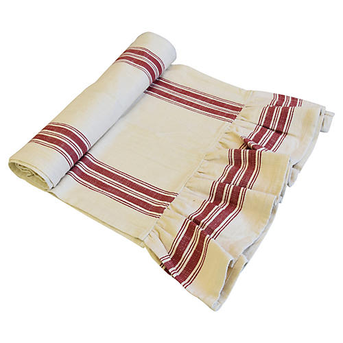 Farmhouse Cream/Red Stripe Table Runner