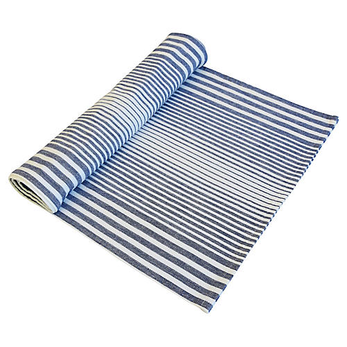 Blue & White Stripe Country Table Runner