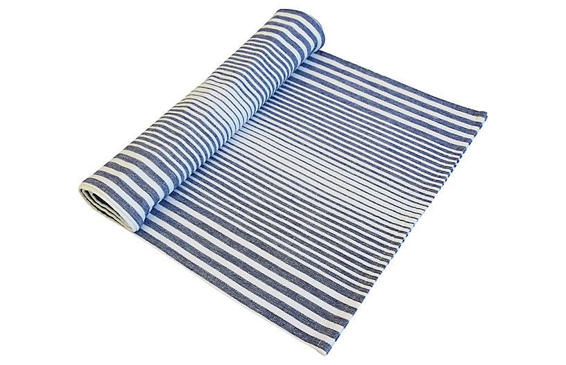 Blue & White Stripe Country Table Runner