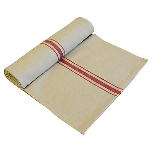 Farmhouse Tan & Red Stripe Table Runner