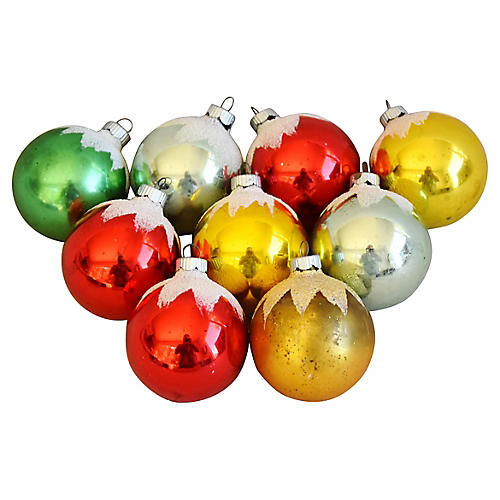 Colorful Christmas Ornaments w/ Box, S/9