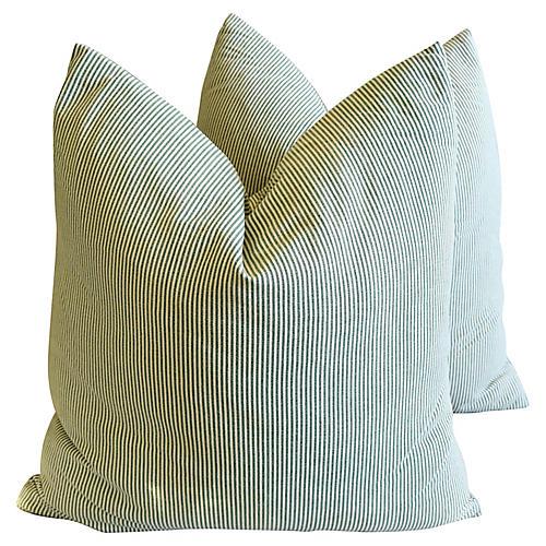 Green & Ivory Ticking Pillows, Pair