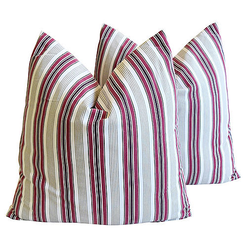 French Striped Pillows, Pair