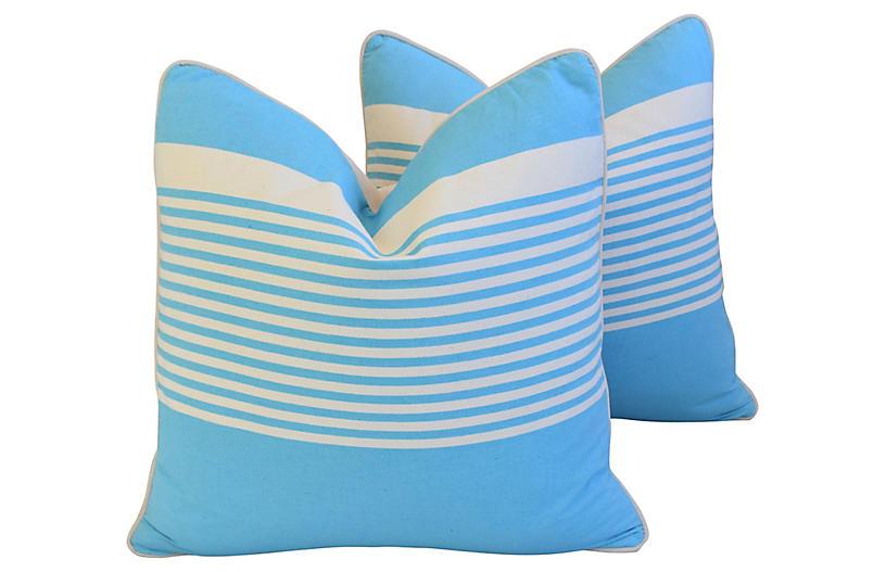 French Blue & White Striped Pillows, Pr