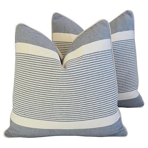 French Gray & White Striped Pillows, Pr